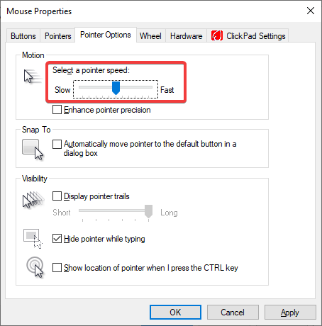Control Panel Mouse Pointer Speed
