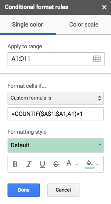Conditional Formatting Google sheets