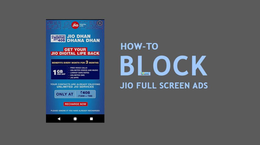 Block Jio from Showing Ads