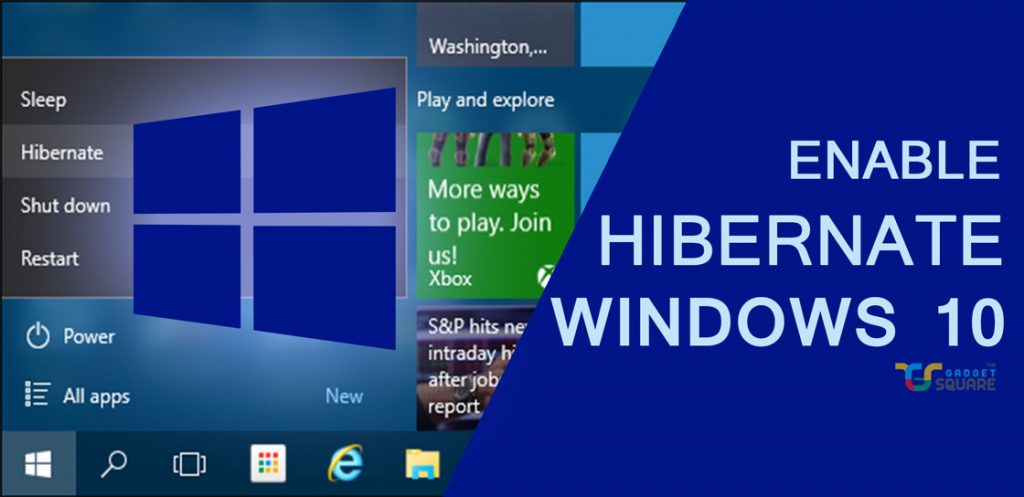 enable hibernate option Windows 10